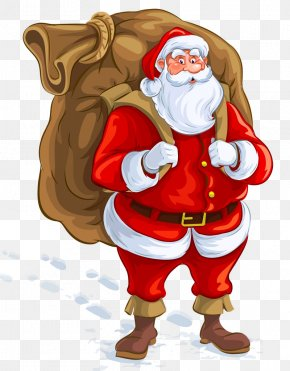Santa Claus Carrying A Gift - Ded Moroz Santa Claus Christmas Gift Illustration PNG
