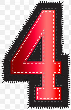 Red Sport Style Number Four Clip Art Image - Clip Art PNG