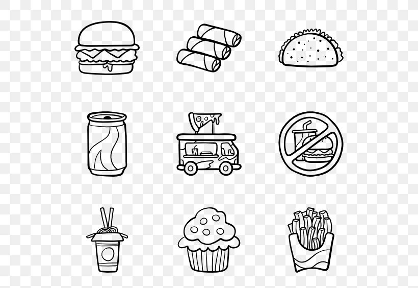 Fast Food, PNG, 600x564px, Royaltyfree, Area, Black And White, Cartoon, Cookware And Bakeware Download Free