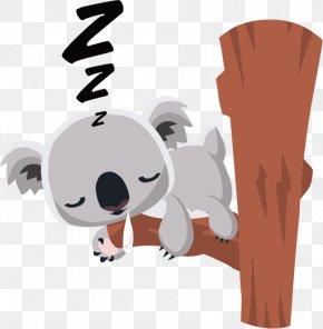 Koala Sleeping In A Tree Vector - Koala Bear Cartoon Clip Art PNG