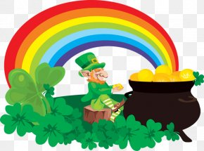 Rainbow And Pot Of Gold Clipart - Rainbow Pot Of Gold Leprechaun Saint Patricks Day Clip Art PNG