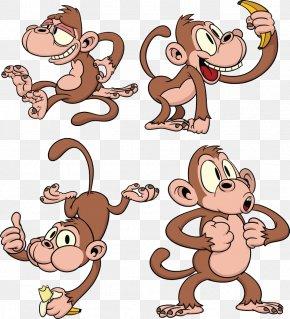 4 Monkeys - Monkey Cartoon Clip Art PNG