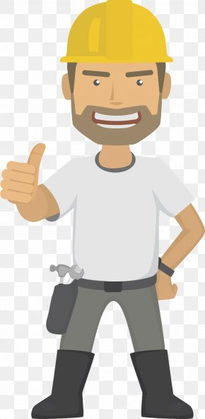 Vertical Big Bearded Engineer - Architectural Engineering Construction Worker Lone Worker Icon PNG