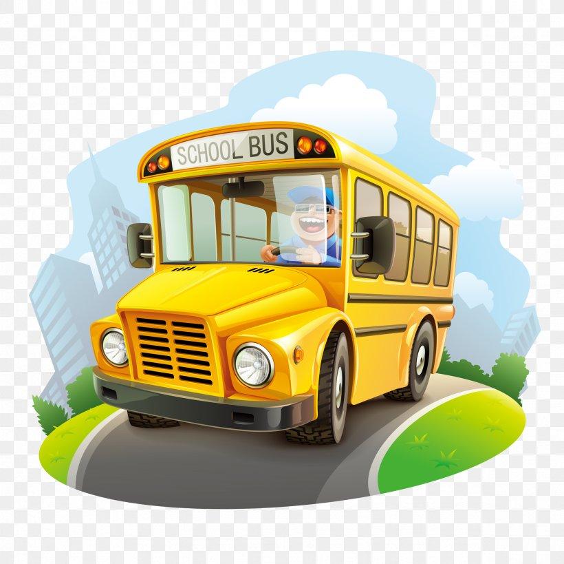 School Bus Cartoon Illustration, PNG, 2362x2362px, Bus, Automotive Design, Brand, Cartoon, Commercial Vehicle Download Free