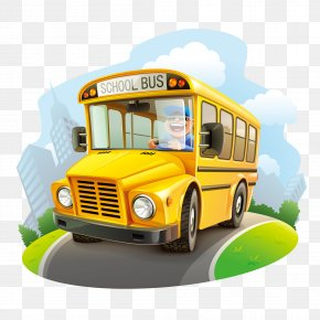 School Bus - School Bus Cartoon Illustration PNG