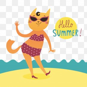 Hello Summer Vector - Hello Kitty Cat Kitten Clip Art PNG