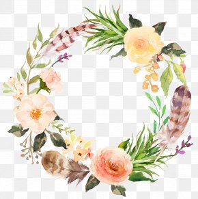 Watercolor Aesthetic Style Floral Wreath - Flower Clip Art PNG