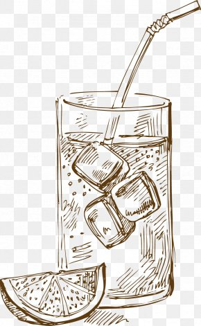 Cartoon Lemon Ice Drink - Drink Iced Coffee PNG