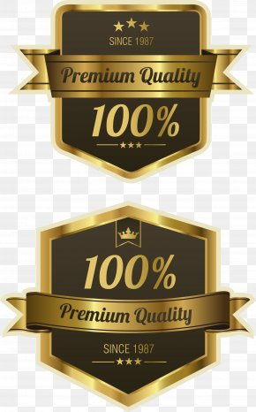 Vector Hand Painted Gold Badge - Quality Label Royalty-free PNG