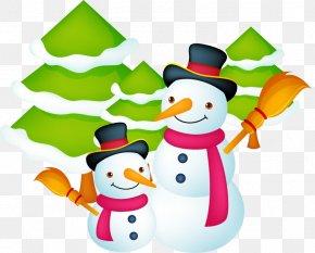 Vector Winter Snowman - Santa Claus Christmas Gift Card Template PNG