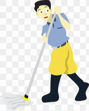 Vector Man Mopping The Floor - Floor Cleaning Mop Clip Art PNG