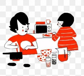 A Couple Of Small Couples Cooking At Home Is Small Fortunate - Soppy: A Love Story Comics Hug Illustration PNG