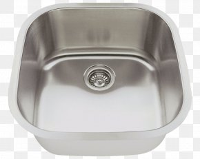 Sink - Kitchen Sink Stainless Steel Brushed Metal Tap PNG