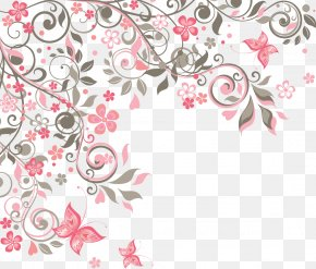 Vector Floral Decoration Corner Flower - Butterfly Flower Euclidean Vector PNG