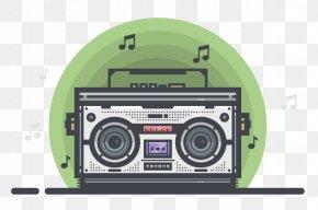 Radio Hand-painted Cartoon - Adobe Illustrator Boombox Tutorial Illustration PNG