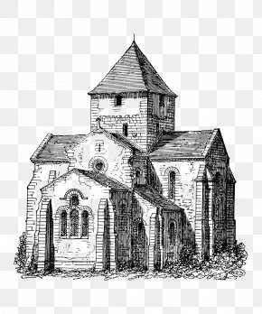 Hand-painted French Ancient Church - Coloring Book Building Church Illustration PNG