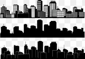 Black And White City Silhouette - City Silhouette Skyline Building PNG