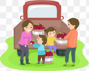 The Family Moved The Apple - Drawing Family Photography Illustration PNG