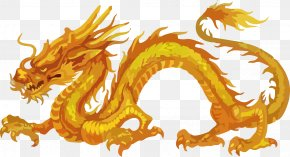 Large Golden Dragon Vector Material - History Of China Chinese Dragon Japanese Dragon PNG
