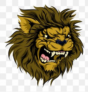 A Lion With A Big Mouth - Lion Logo Mascot Illustration PNG