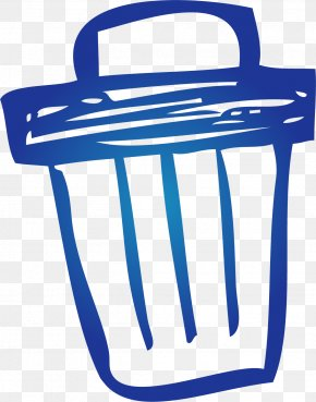 Hand Painted Blue Trash Can - Waste Container Google Images Clip Art PNG