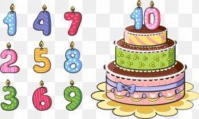 Vector Numbers And Cake - Birthday Cake Cartoon PNG