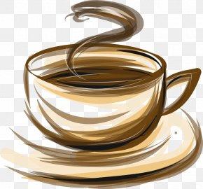 Vector Coffee Cup Brown Stripes - Coffee Tea Cafe Espresso PNG