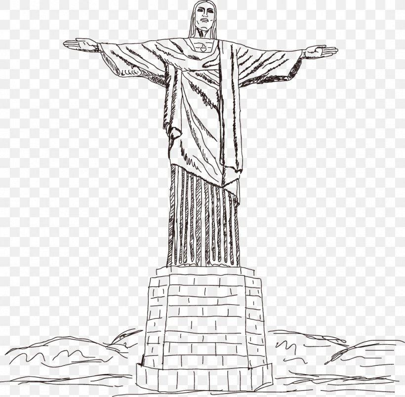 Christ The Redeemer Corcovado Illustration, PNG, 1065x1045px, Christ The Redeemer, Art, Artwork, Black And White, Corcovado Download Free