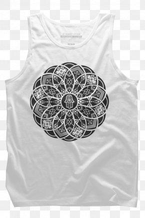 T-shirt - T-shirt Hoodie Hamsa Mandala Crew Neck PNG