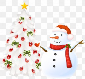 Christmas Tree With Snowman - Christmas Tree Christmas Card Greeting Card Clip Art PNG