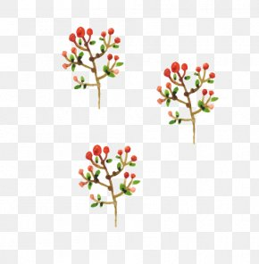 Watercolor Christmas Plant - Christmas Watercolor Painting Computer File PNG