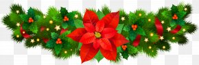 Christmas Decorative With Poinsettia Clip Art Image - Christmas Eve Clip Art PNG