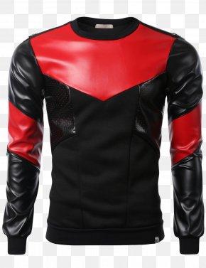 Red Zipper Hoodie - Leather Jacket T-shirt Hoodie Sleeve Zipper PNG