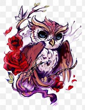 Owl - Owl Tattoo Artist Rose Flash PNG