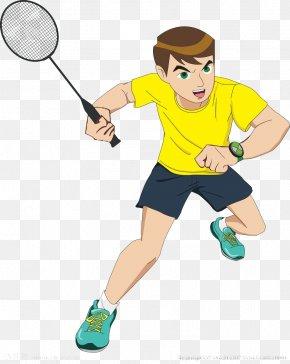 Teenager Playing Badminton - Badminton Cartoon Sport PNG