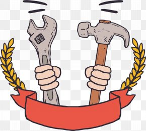 Holding A Wrench And A Hammer - Hand Tool Wrench Hammer PNG
