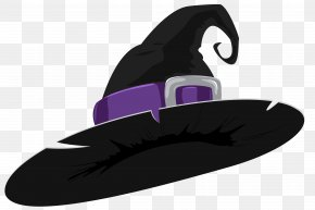 Witch Hat Black And Purple Clipart Image - Witch Hat Clip Art PNG