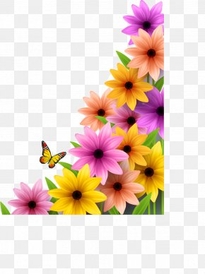 Flowers Border Vector Material - Flower Poster PNG