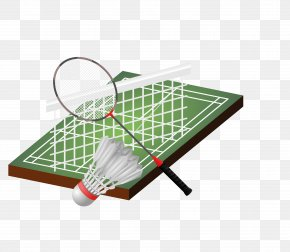 Vector Green Badminton And Utensils - Badmintonracket Shuttlecock PNG