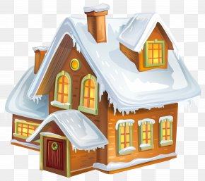 Christmas Winter House Transparent Clip Art Image - Winter Gingerbread House Clip Art PNG