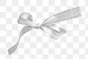 Silver Bow - Ribbon Textile White PNG