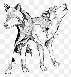 Black And White Wolf - Gray Wolf Line Art Manic Botanic: Zifflin's Coloring Book Black And White Drawing PNG