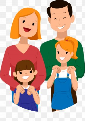 Vector Hand Painted A Family - Droopy Family Cartoon Child PNG