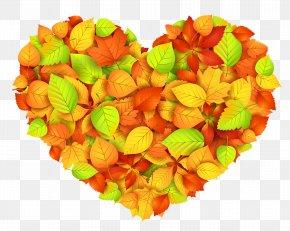 Heart Of Autumn Leaves Decor Transparent Picture - Autumn Heart Clip Art PNG