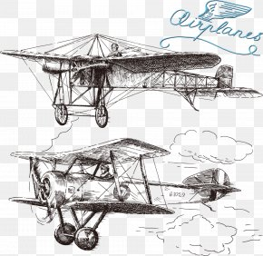 Hand-painted Aircraft - Airplane Drawing Royalty-free Illustration PNG