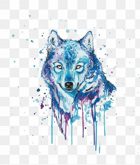 Painted Wolf - Gray Wolf Watercolor Painting Oil Painting PNG