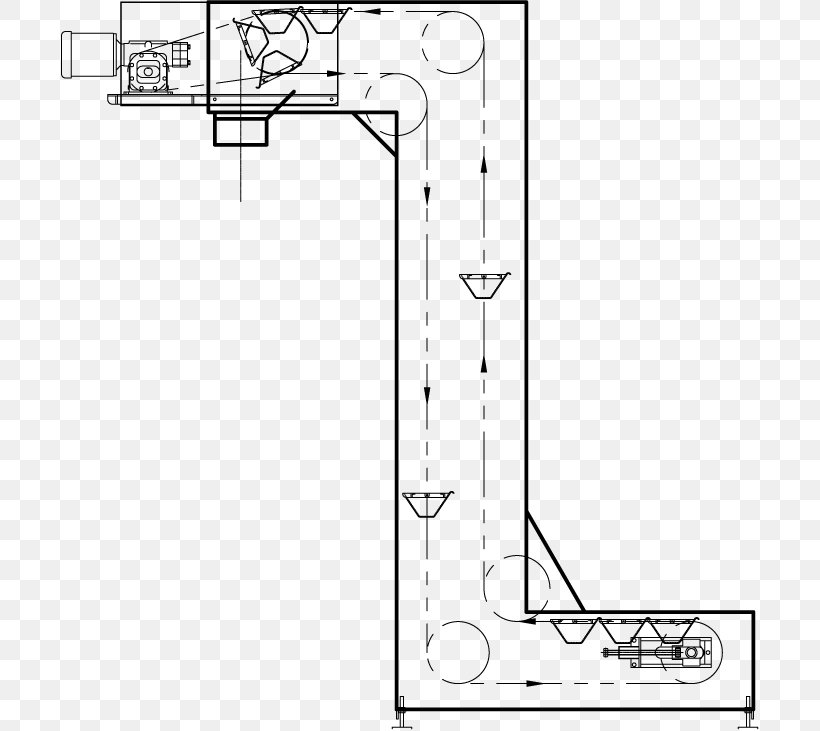 Bucket Elevator Conveyor System Technical Drawing, PNG, 731x731px, Bucket Elevator, Area, Artwork, Auto Part, Black And White Download Free