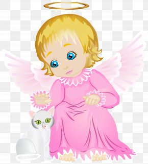 Cute Angel With White Kitten Transparent Clip Art Image - Los Angeles Pink Clip Art PNG