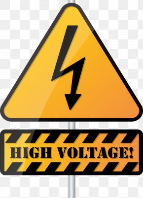 Triangle Yellow Warning Sign - High Voltage PNG