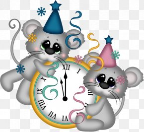 Decorative Clock Cartoon Mouse - New Years Eve New Years Day Clock Clip Art PNG